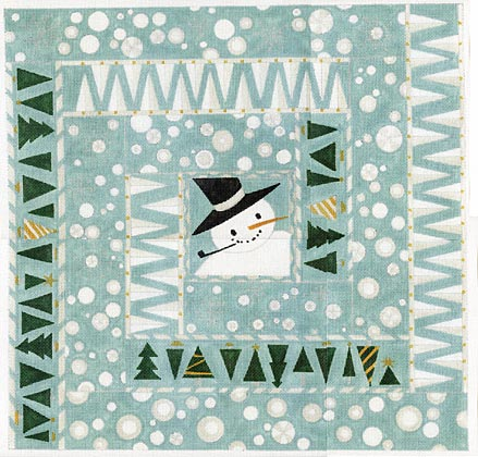 click here to view larger image of Snowman Square - 13ct (hand painted canvases)