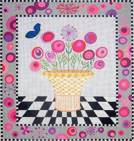click here to view larger image of Flower Basket - 18ct (hand painted canvases)