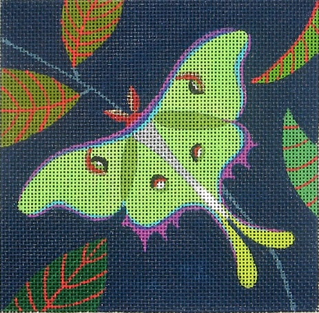 click here to view larger image of Luna Moth Square (hand painted canvases)