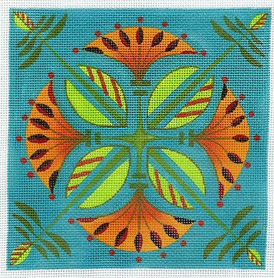 click here to view larger image of Lotus Squared - 13ct (hand painted canvases)