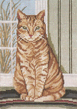 click here to view larger image of Pondering Pussycat - 18ct (hand painted canvases)