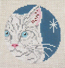 click here to view larger image of White Cat - Glimpse Ornament - 18ct (hand painted canvases)