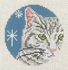 click here to view larger image of Gray Tabby Cat - Glimpse Ornament - 13ct (hand painted canvases)