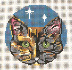 click here to view larger image of Torti Cat - Glimpse Ornament - 18ct (hand painted canvases)