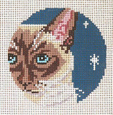 click here to view larger image of Siamese Cat - Glimpse Ornament - 13ct (hand painted canvases)