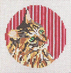 click here to view larger image of Jolie Cat Stripes Ornament - 13ct (hand painted canvases)