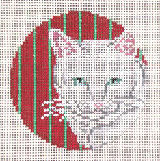 click here to view larger image of White Cat With Red and Green Stripes Ornament - 13ct (hand painted canvases)