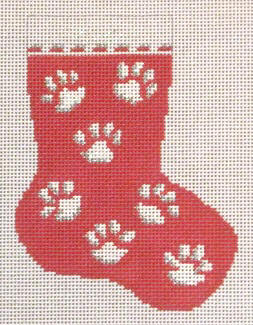 click here to view larger image of Red Paw Prints Mini Stocking (hand painted canvases)