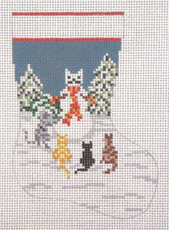 click here to view larger image of Snow Cat Mini Stocking - 13ct (hand painted canvases)