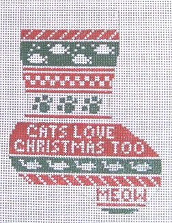 click here to view larger image of Cats Love Christmas Mini Stocking (hand painted canvases)