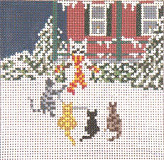 click here to view larger image of Snow Cat Party (hand painted canvases)