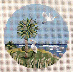 click here to view larger image of Egrets and Palmetto Ornament (hand painted canvases)