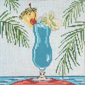 click here to view larger image of Blue Hawaii - 18ct  (hand painted canvases)