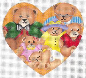 click here to view larger image of Bear Family Heart Ornament (hand painted canvases)