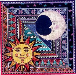 click here to view larger image of Sun and Moon (hand painted canvases)