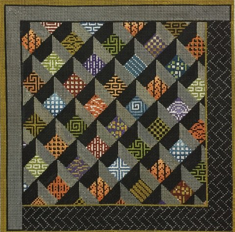 click here to view larger image of Asian Squares - 13ct (hand painted canvases)