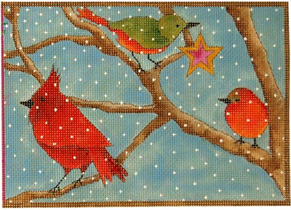 click here to view larger image of Winter Song  Birds (hand painted canvases)