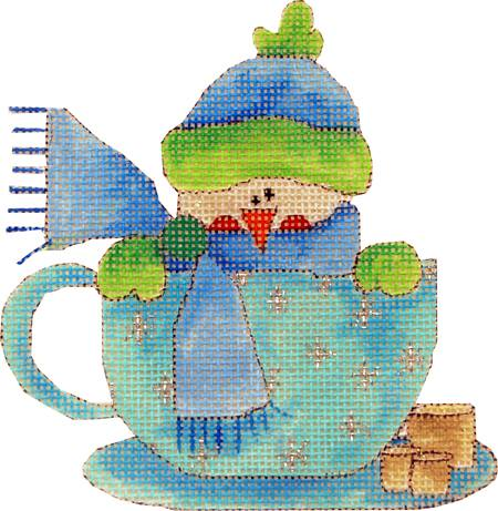 click here to view larger image of Marshmallow Snowman In a Cup (hand painted canvases)