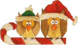 click here to view larger image of Owls On A Candy Cane (hand painted canvases)
