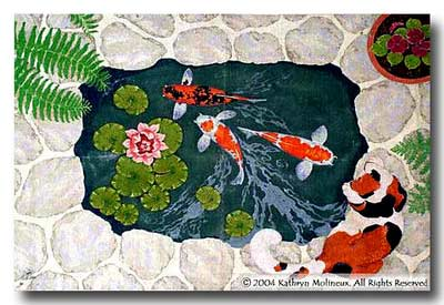 click here to view larger image of Cat / Koi Rug (hand painted canvases)