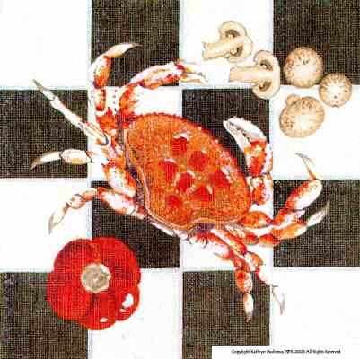 click here to view larger image of Crab Pillow (hand painted canvases)