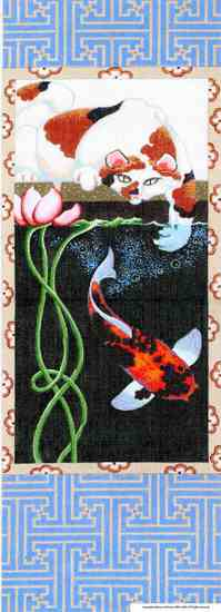 click here to view larger image of Cat / Koi Scroll (hand painted canvases)