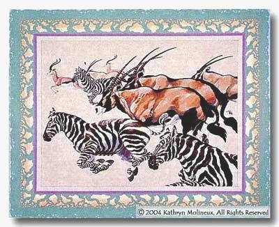 click here to view larger image of Serengeti Rug (hand painted canvases)