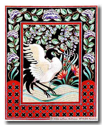 click here to view larger image of Japanese Crane Tapestry (hand painted canvases)