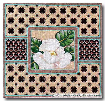 click here to view larger image of Magnolia With Border (hand painted canvases)