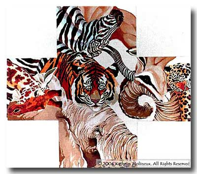 click here to view larger image of Wild Animal Ottoman (hand painted canvases)
