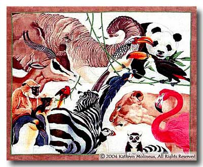 click here to view larger image of San Diego Zoo Rug (hand painted canvases)