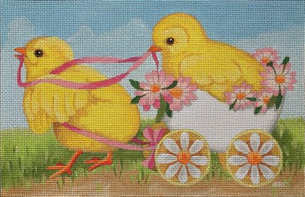 click here to view larger image of Two Chicks and An Egg (hand painted canvases)