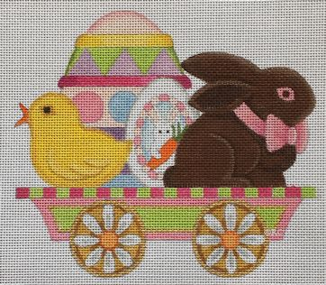 click here to view larger image of Easter Flat Car (hand painted canvases)