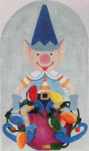 click here to view larger image of Santas Blue Elf (hand painted canvases)