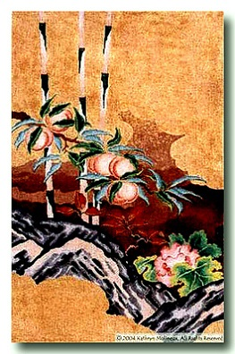 click here to view larger image of Peaches and Peonies - Center Panel (hand painted canvases)