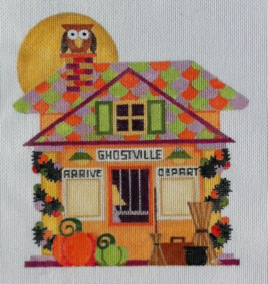 click here to view larger image of Halloween Train Depot (hand painted canvases)
