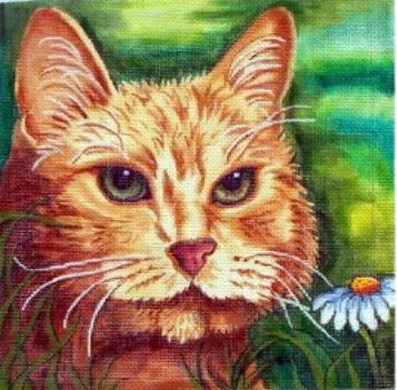 click here to view larger image of Yellow Cat (hand painted canvases)