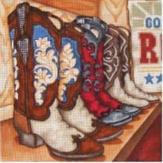 click here to view larger image of Cowboy Boots (hand painted canvases)