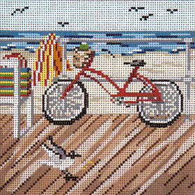 click here to view larger image of Boardwalk Bicycle - 18ct (hand painted canvases)