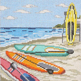 click here to view larger image of Paddleboarding Fun - No People - 13ct (hand painted canvases)