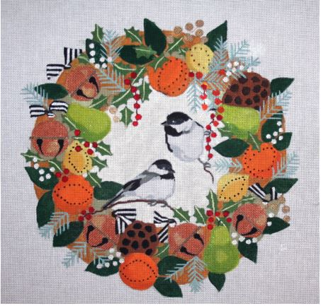 click here to view larger image of Chickadees In Winter Wreath (hand painted canvases)