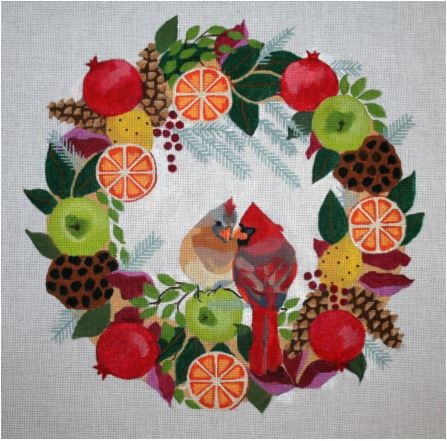 click here to view larger image of Cardinals In Wreath (hand painted canvases)