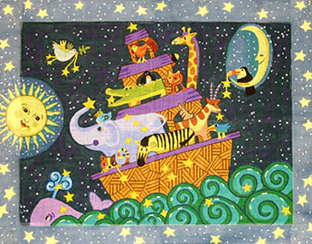 click here to view larger image of Moonlight Noahs Ark (hand painted canvases)