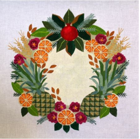 click here to view larger image of Colonial Willimasburg Wreath (hand painted canvases)
