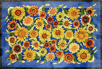 click here to view larger image of Sunflowers On Blue (hand painted canvases)