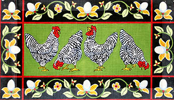 click here to view larger image of Chickens With Egg Border (hand painted canvases)