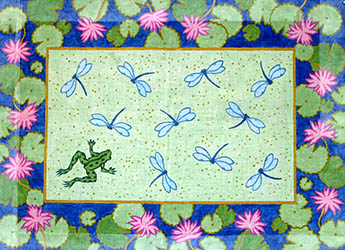 click here to view larger image of Dragonflies With Waterlily Border (hand painted canvases)