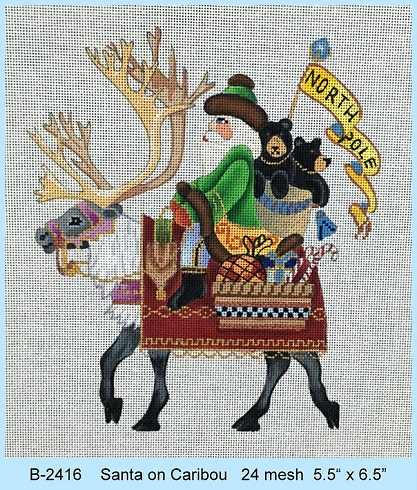 click here to view larger image of Santa On Caribou (hand painted canvases)