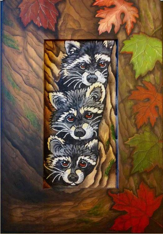 click here to view larger image of Raccoons Frame (Custom painted frames)