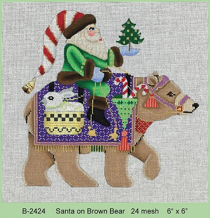 Santa On Brown Bear - click here for more details